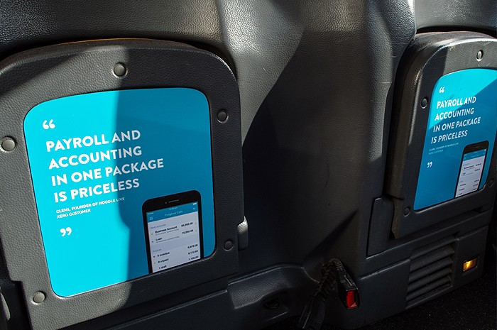 Taxi seat adverts
