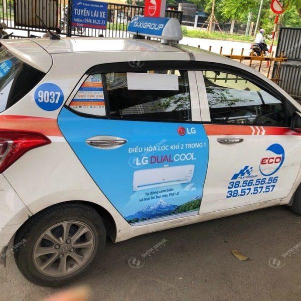 Quảng cáo trên xe taxi Group tại Hà Nội cho Điều hòa LG